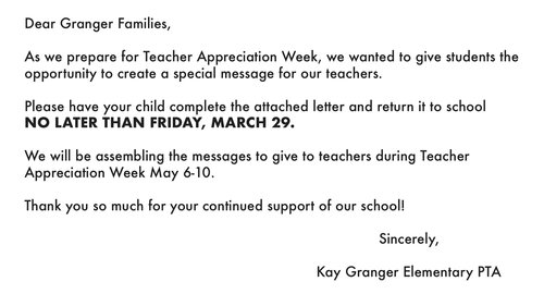Teacher Appreciation Week — Kay Granger Elementary PTA