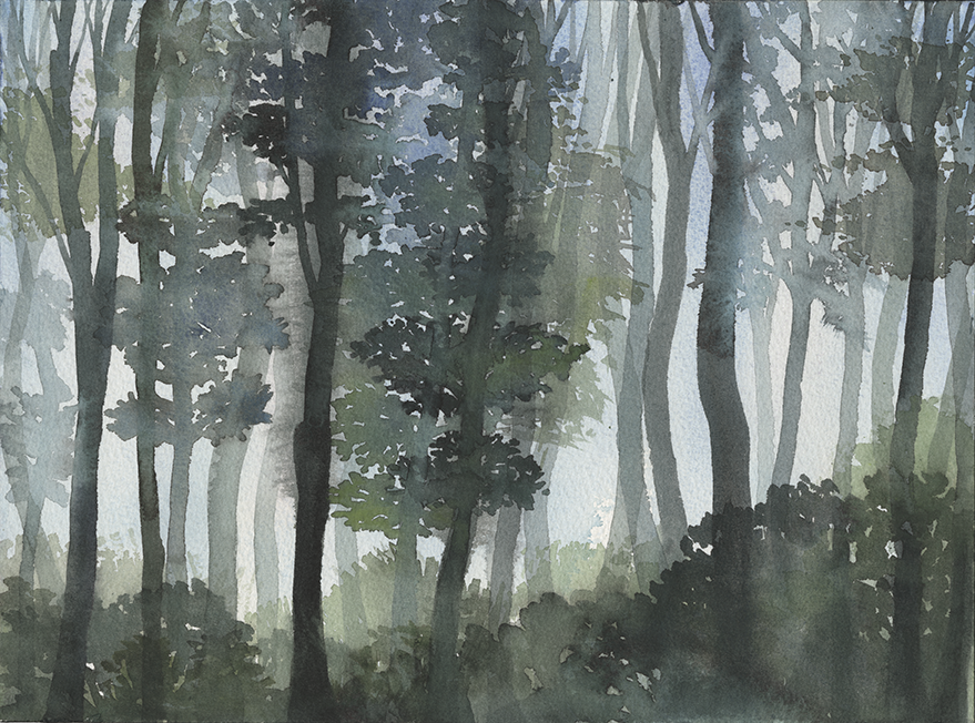 "Composite Landscape IV (2018); 9"" x 12"", watercolor on paper (Sold: Somerville, MA).  References: Ithaca, NY; Shenandoah National Park, VA; Mount Davidson, CA."