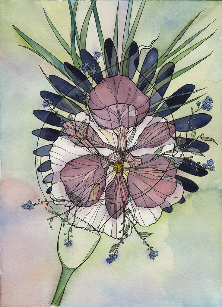 Flowers  (2018). Ink and watercolor on paper.