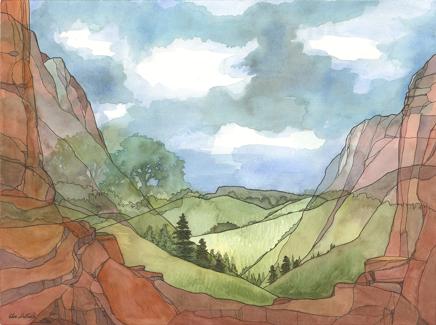 Composite Landscape V: Canyons. (2019) Ink and watercolor on paper.