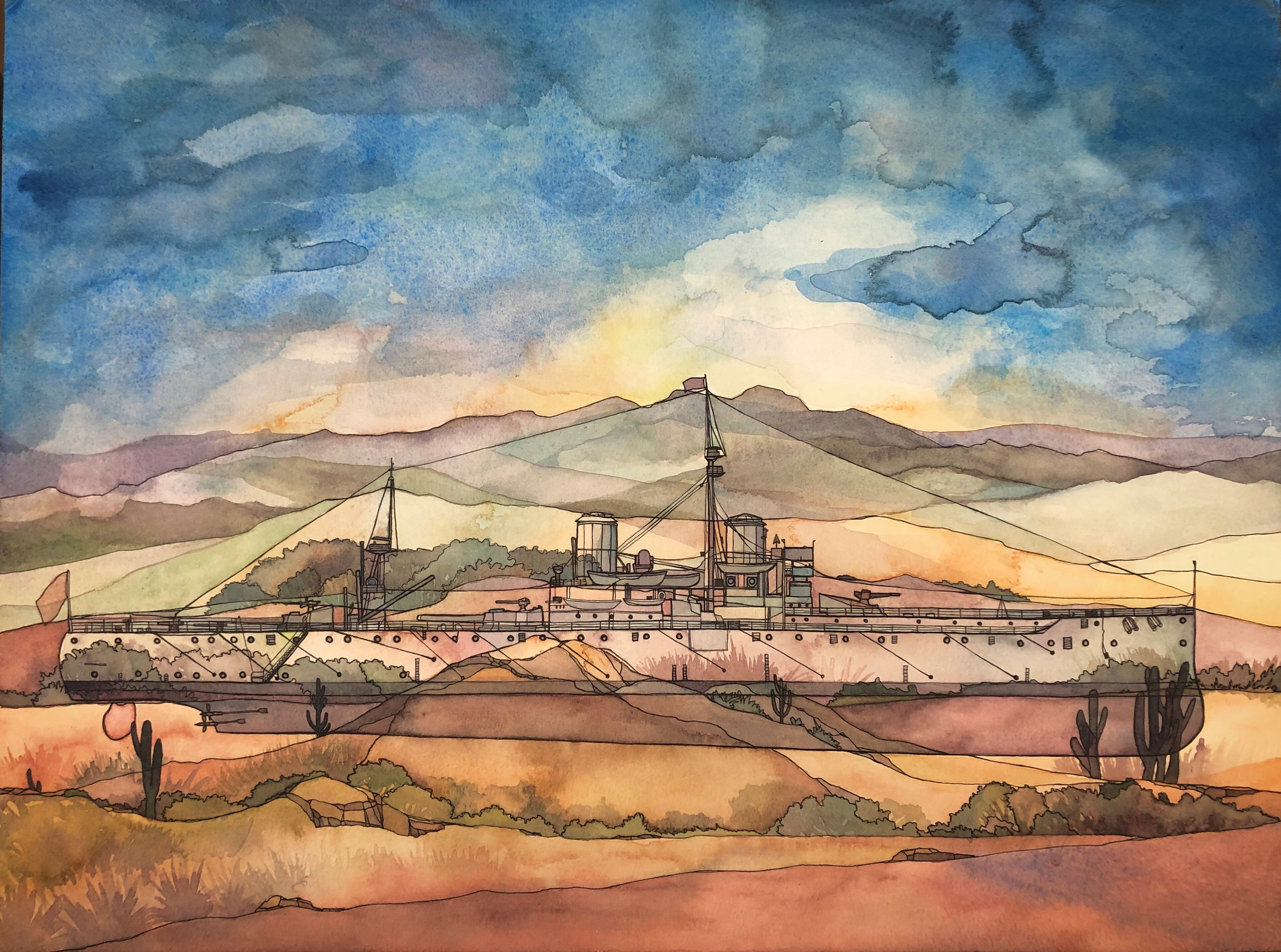 Desert Dreadnought, ink and watercolor on paper.