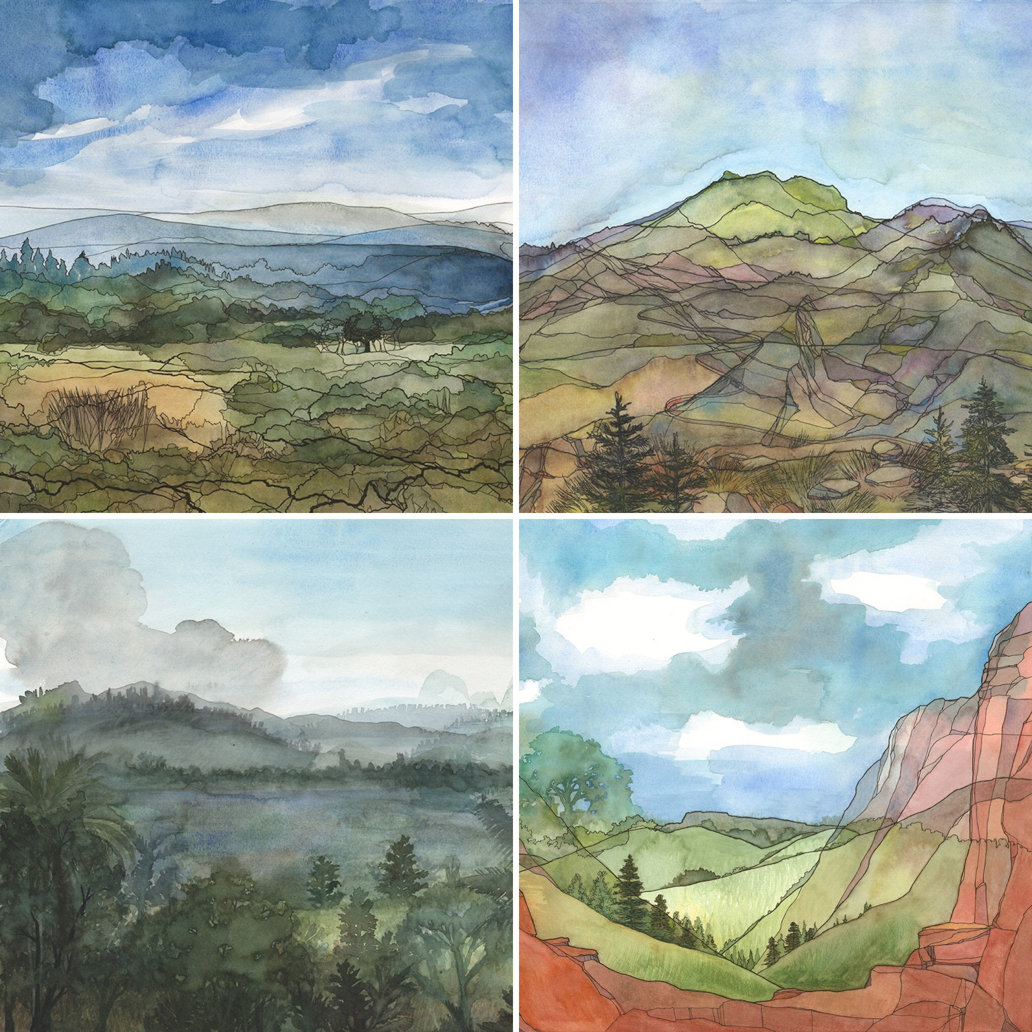 """Clockwise from top left: """"Hills"""", """"Mountains"""", """"Canyons"""", and """"Shores"""". Ink and watercolor on paper."""