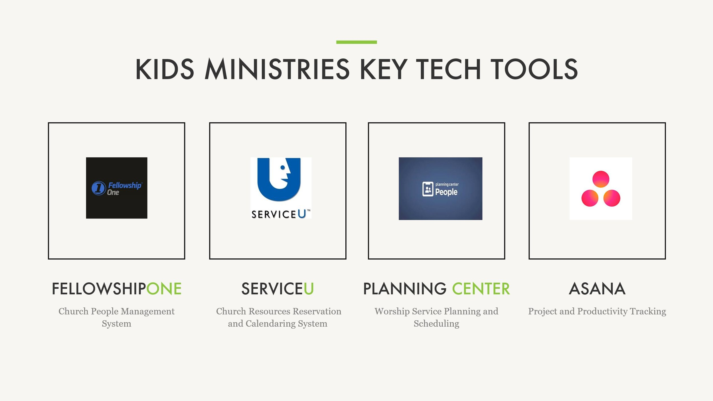 Here is a slide example from our Kids Ministries Department Training Plan listing the tools we use. The tools listed in this plan are the same for each ministry department.