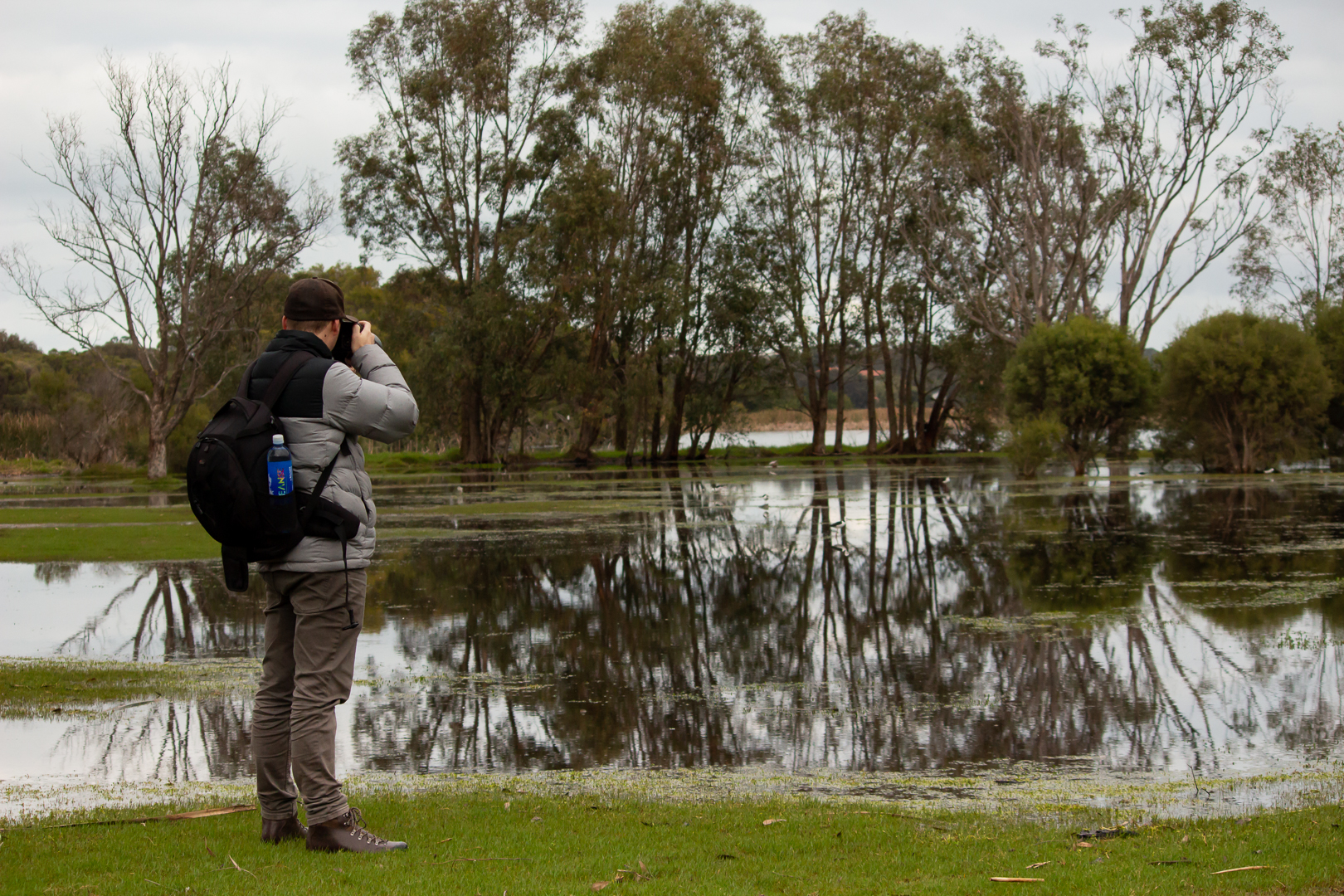 Riley Cavanagh shooting an image of the flooded Herdsman Lake, WA, Winter 2018.