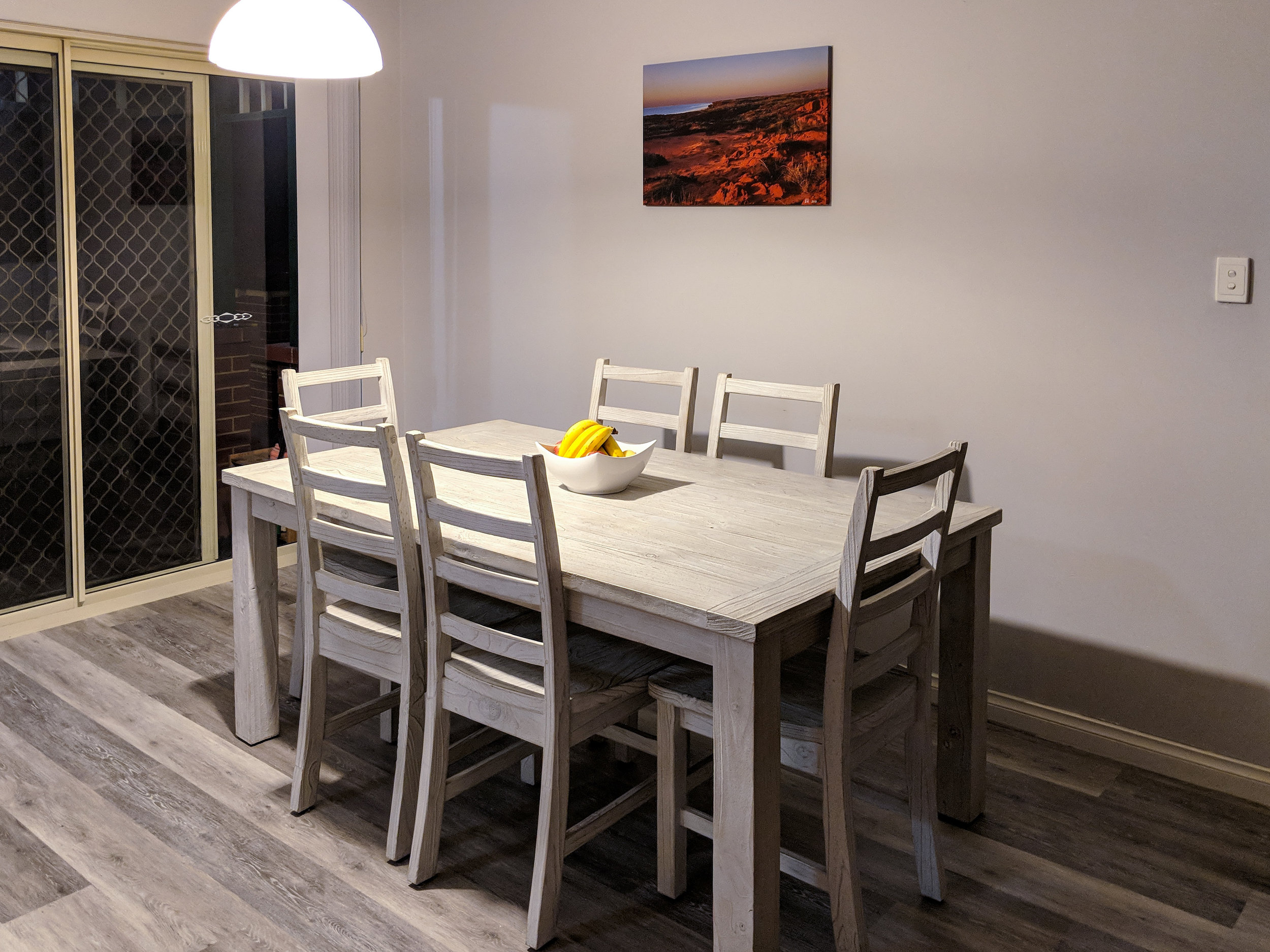 Gallery Wrapped Canvas wall art in dining room.