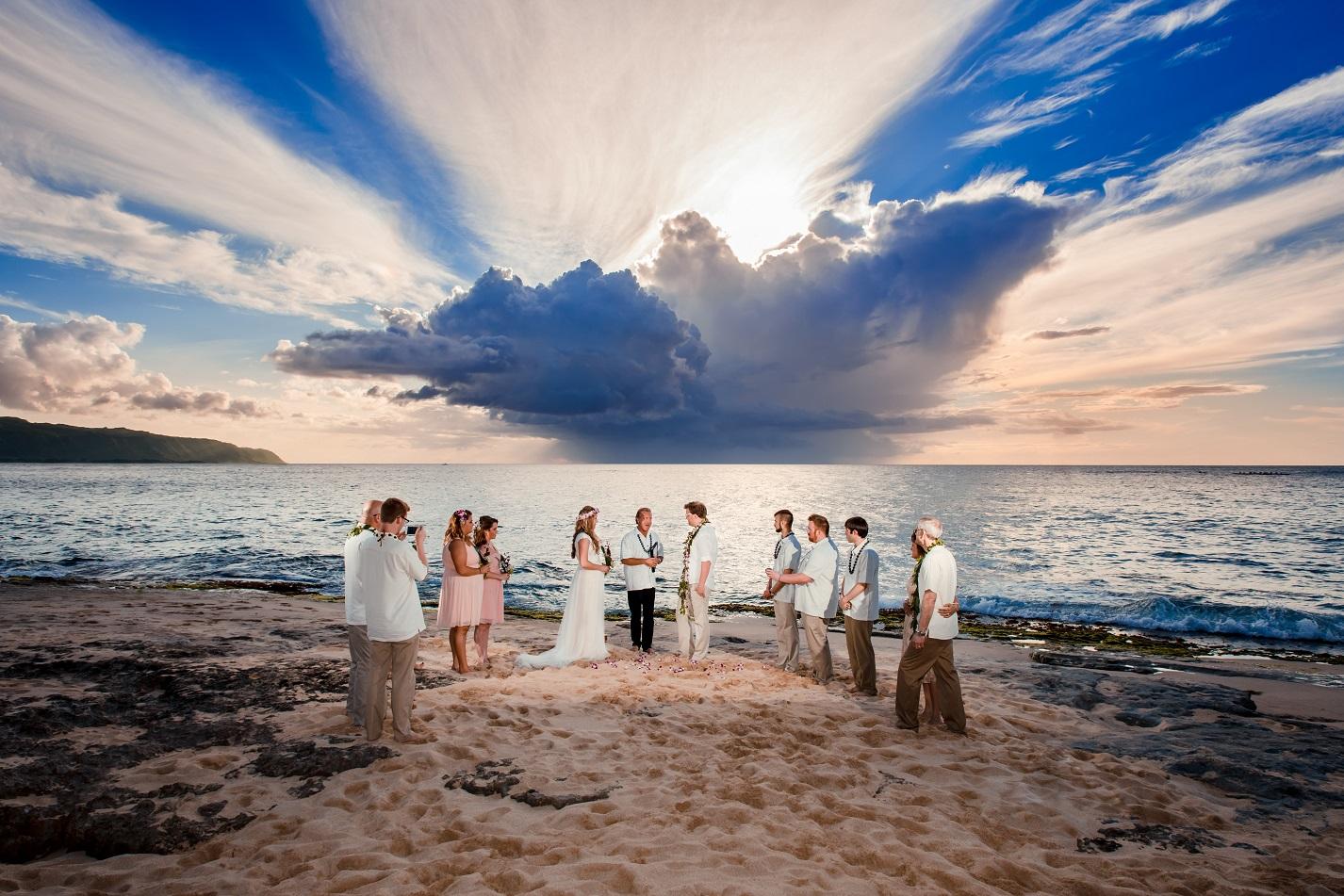 Oahu North Shore sunset beach wedding ceremony