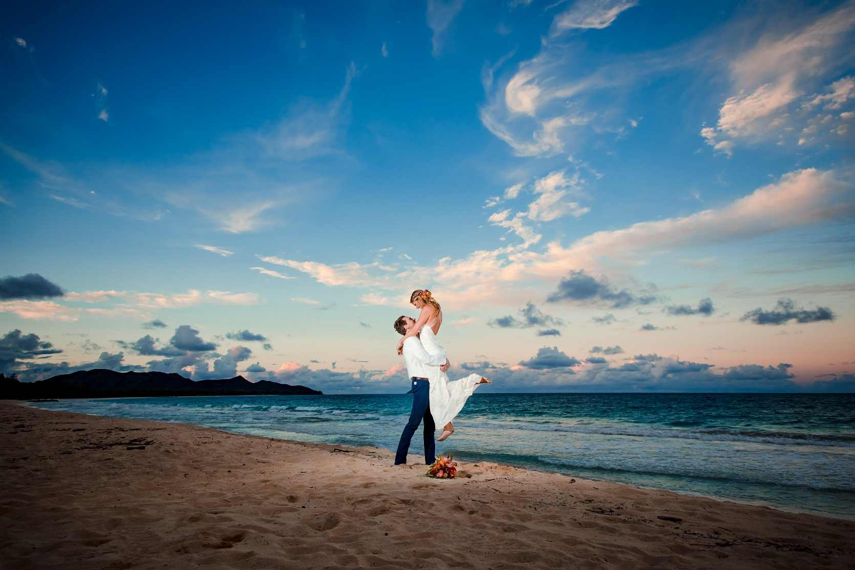 bride and groom wedding portrait sunset beach oahu