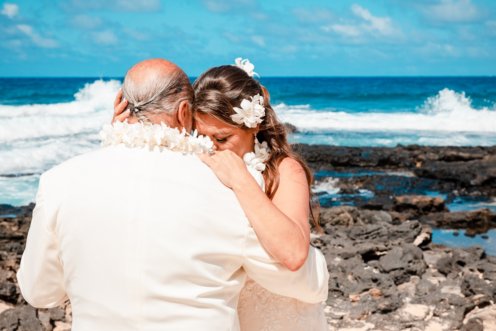crying bride groom oahu wedding elopement ceremony on beach