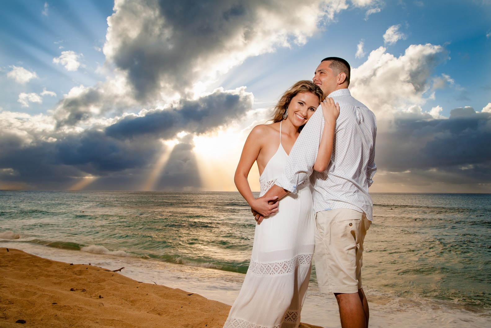 bride groom portrait sunset beach oahu north shore