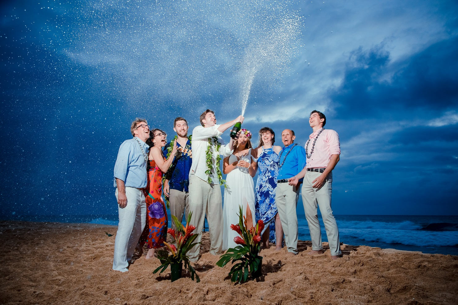 hawaii sunset beach wedding champagne celebration