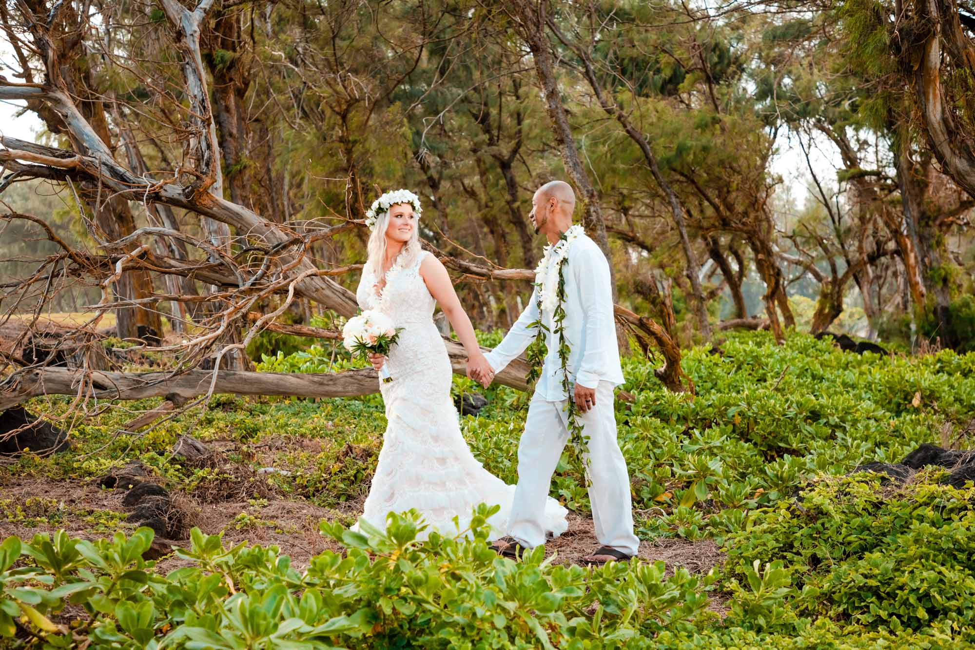 bride and groom portrait big island forest wedding portrait