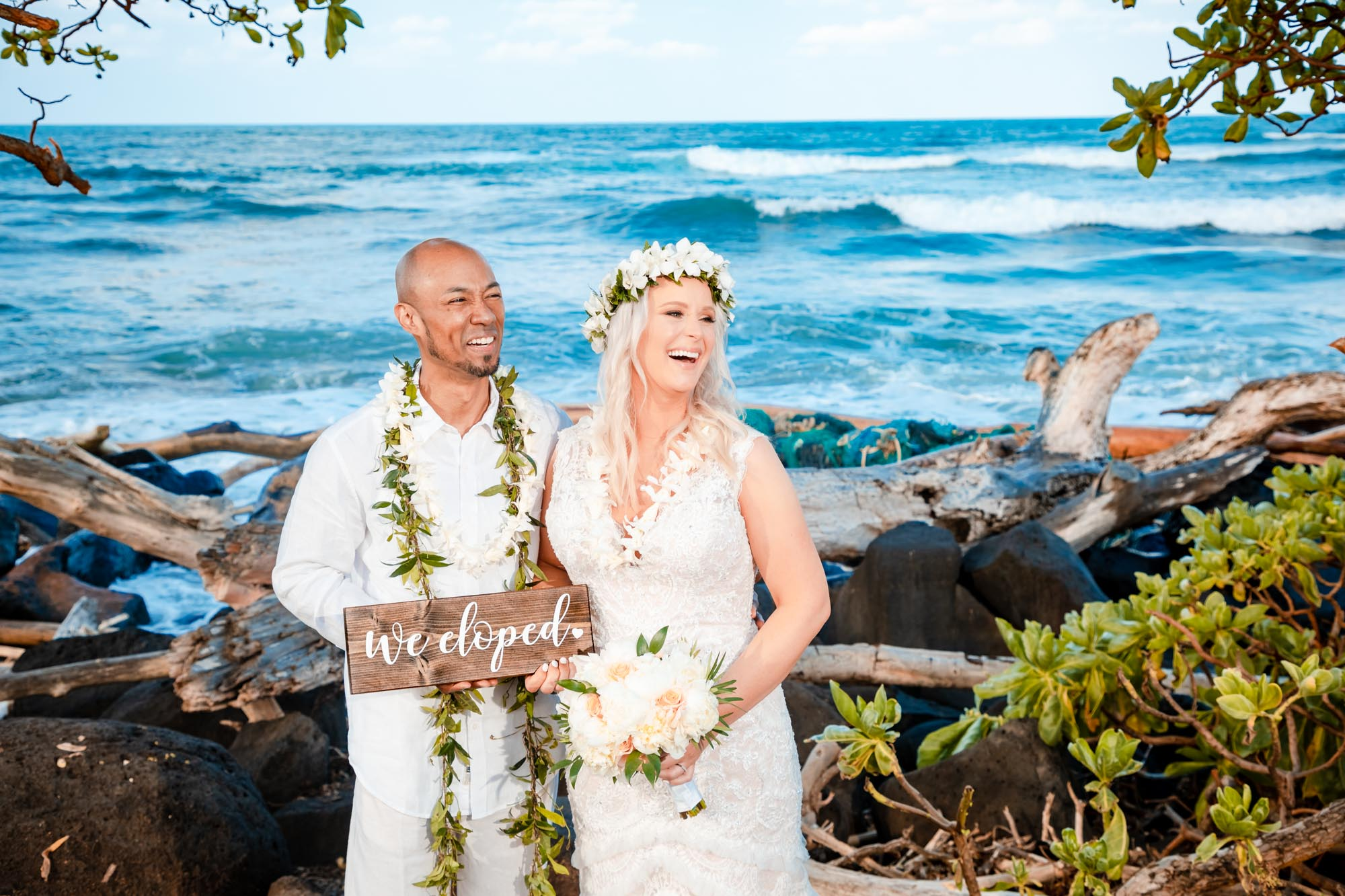 we eloped bride and groom beach ceremony kauai hawaii