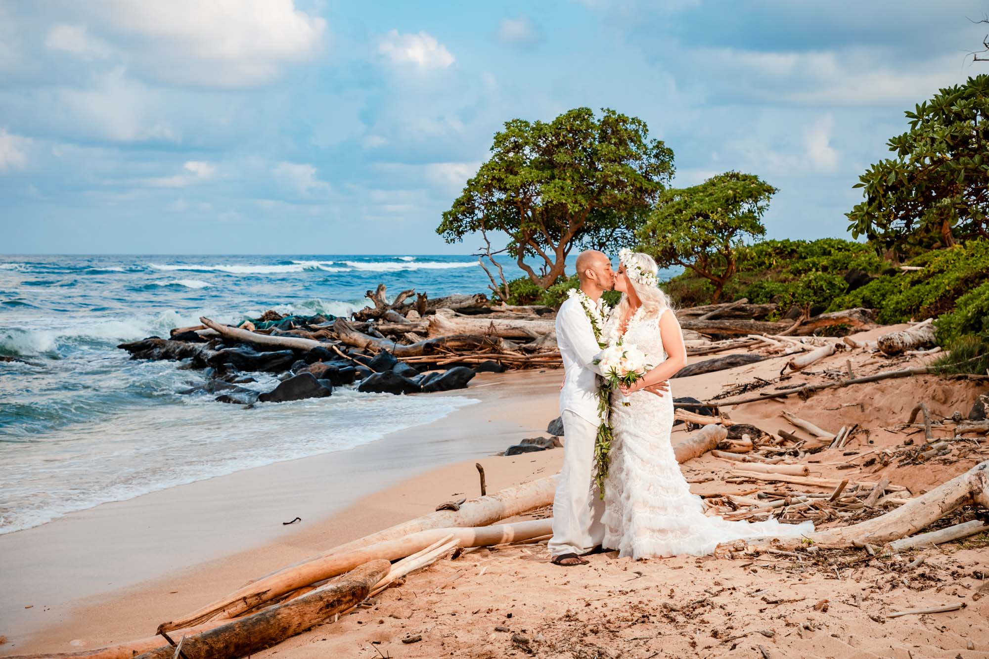 kauai sunset beach bride groom portrait