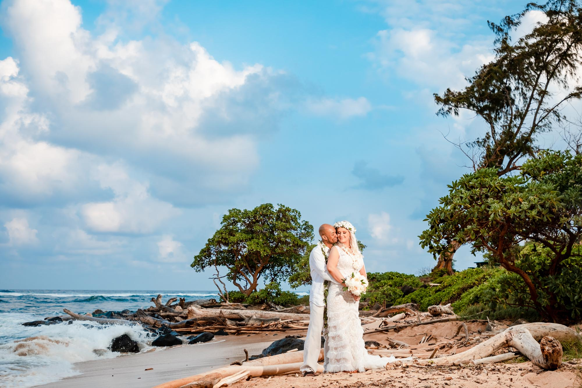 bride groom wedding portraits sunset beach kauai hawaii