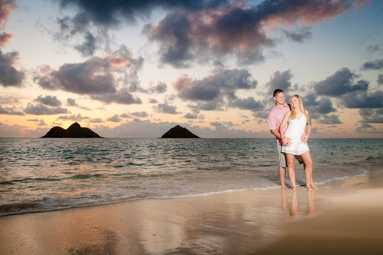 sunrise beach engagement portrait oahu hawaii