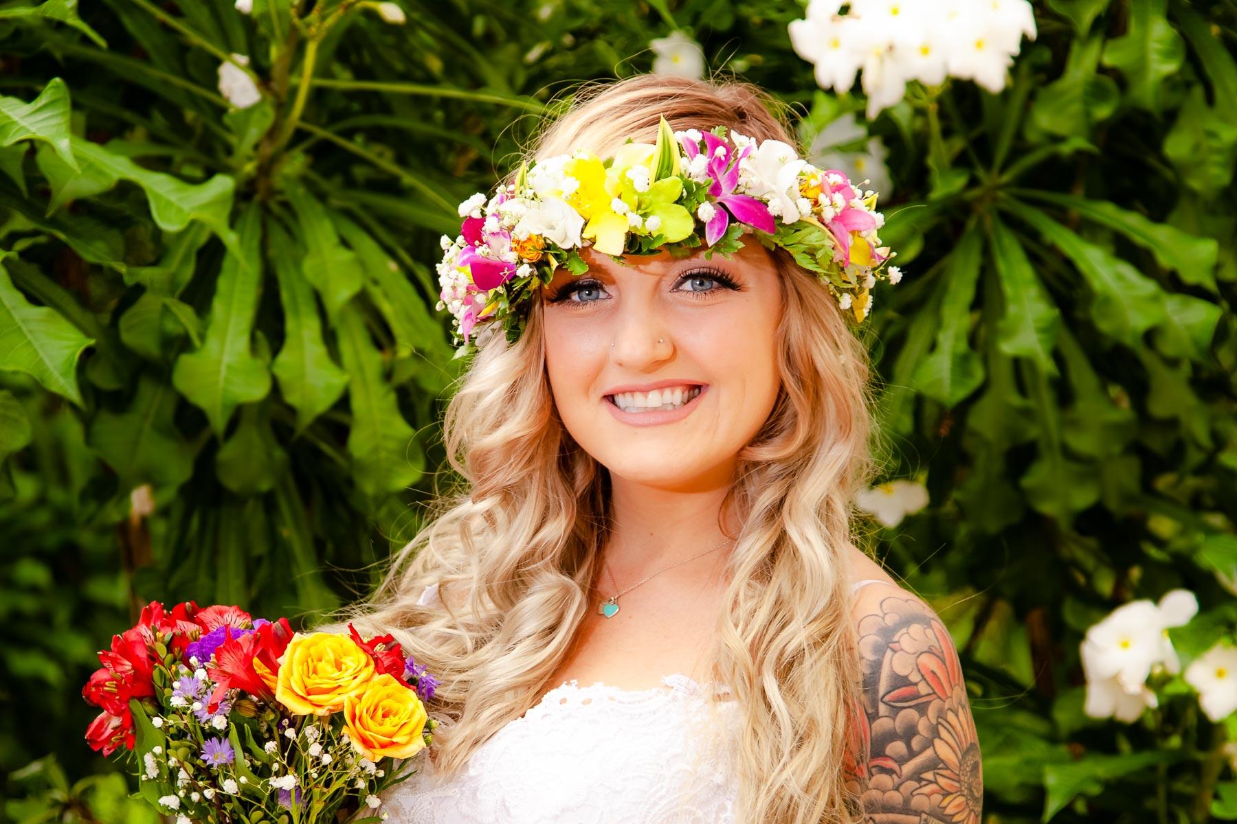 brides garden bridal portrait oahu hawaii