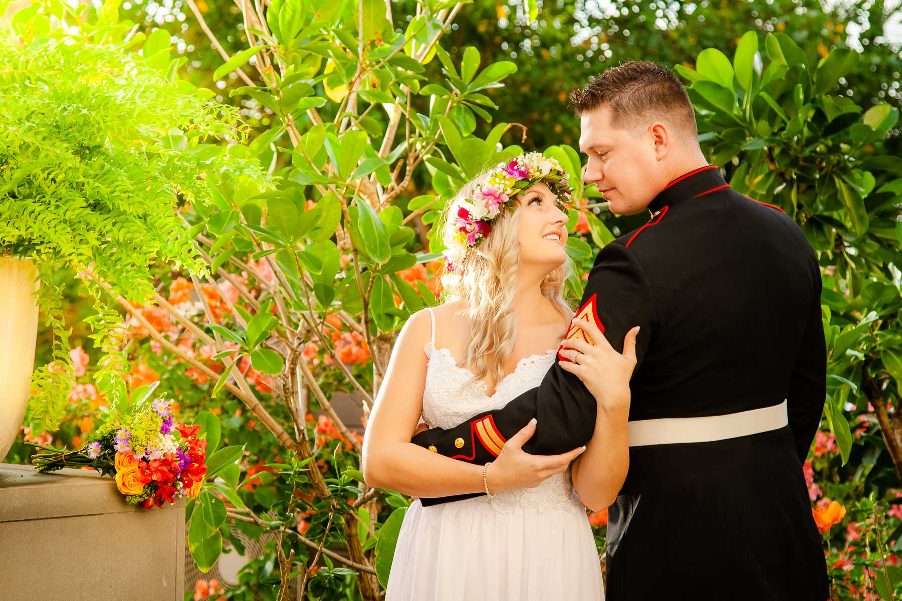 bride and groom garden bridal portrait hawaii