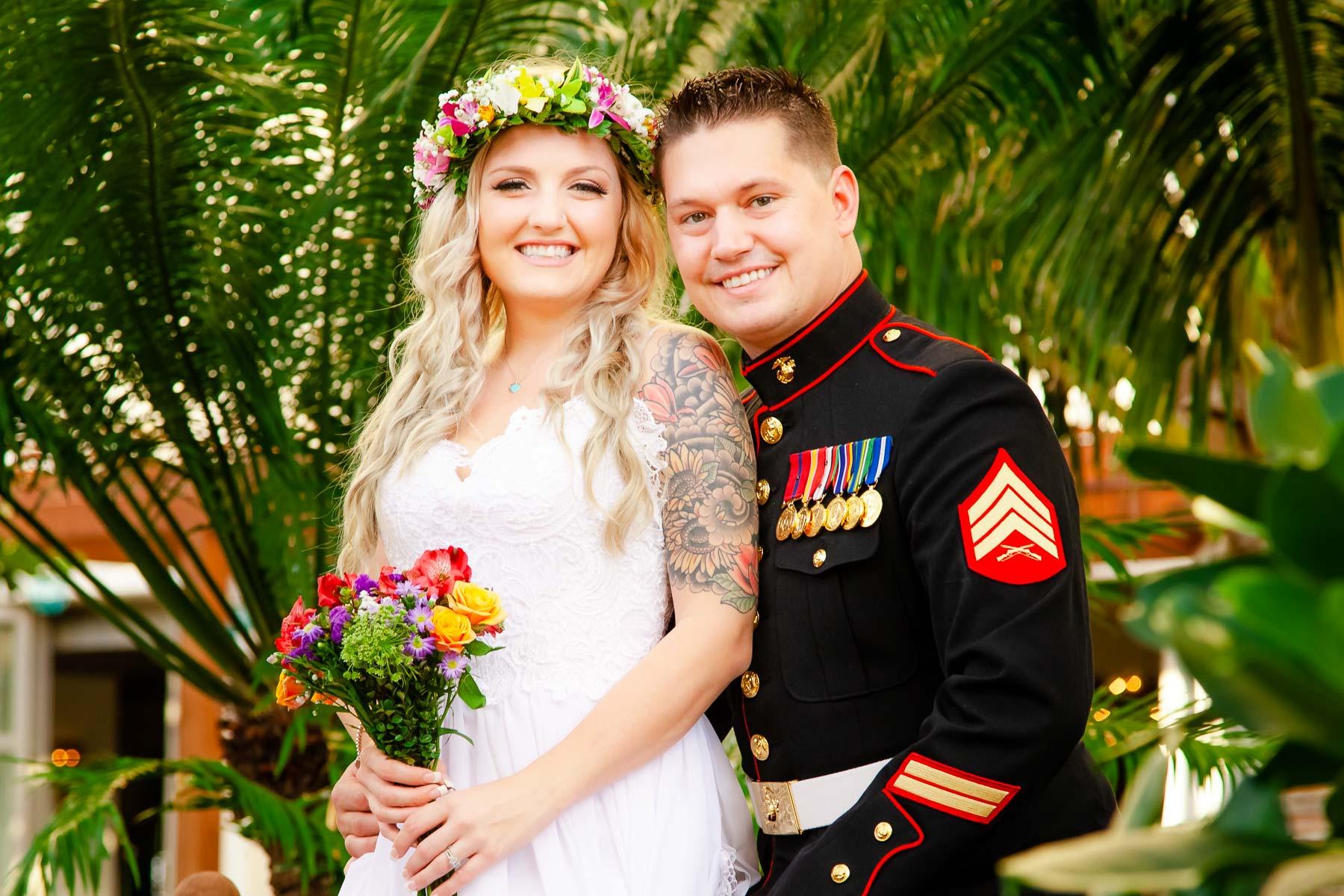 hawaii wedding portraits of bride and groom in garden