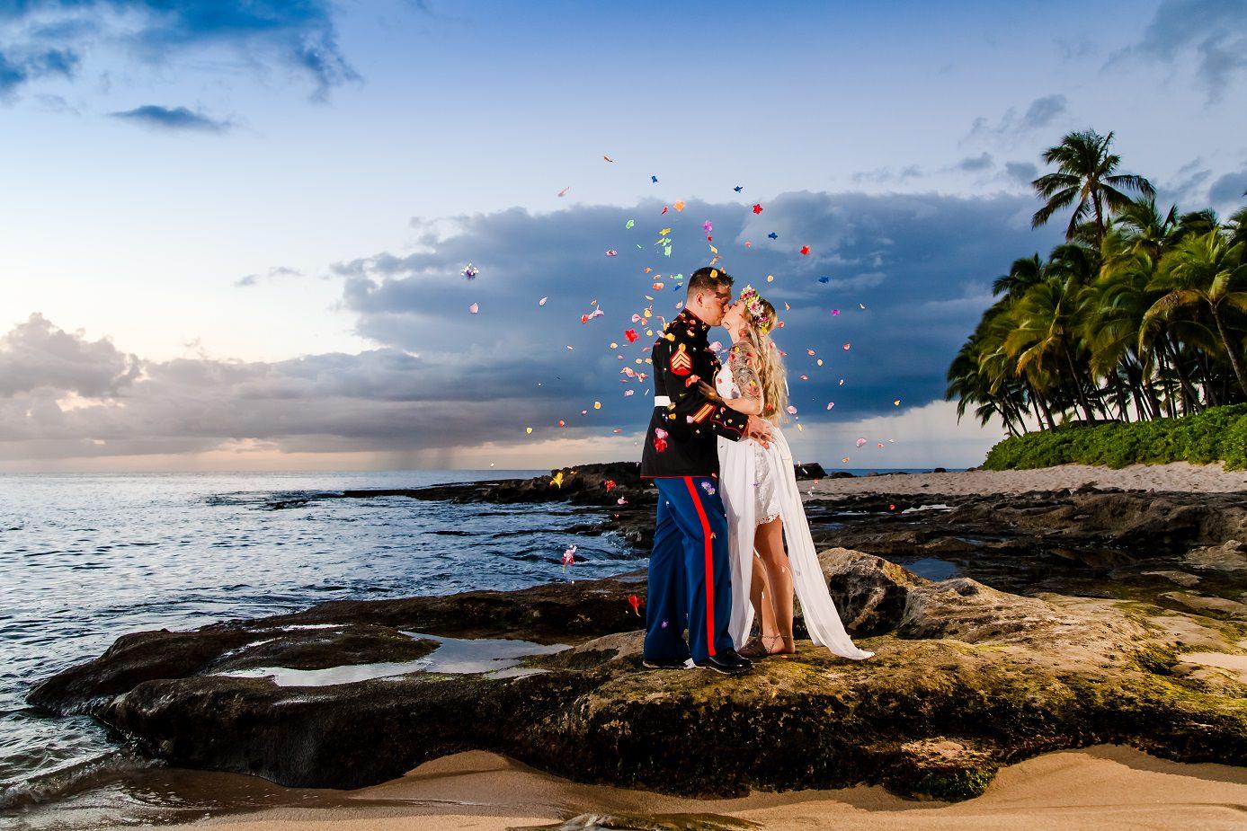 oahu hawaii sunset beach ocean bridal portrait