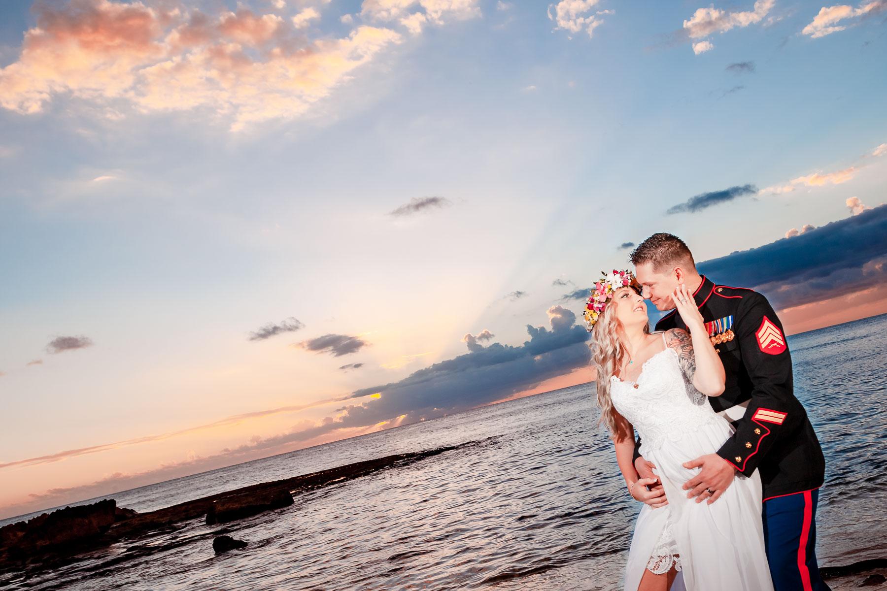sunset beach bridal wedding photo oahu hi