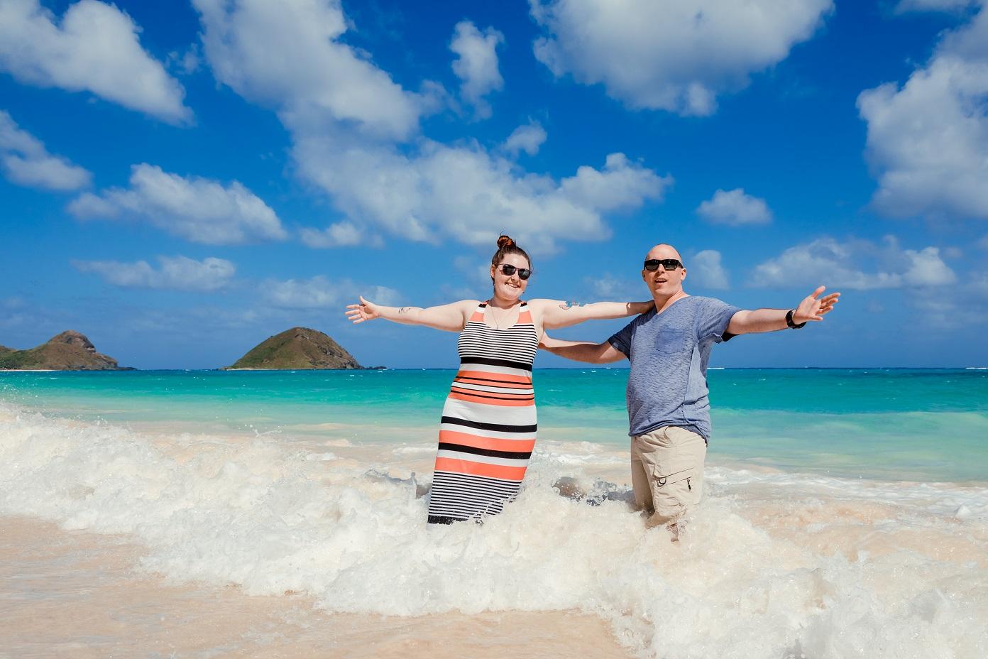 romantic couples engagement portrait oahu beach