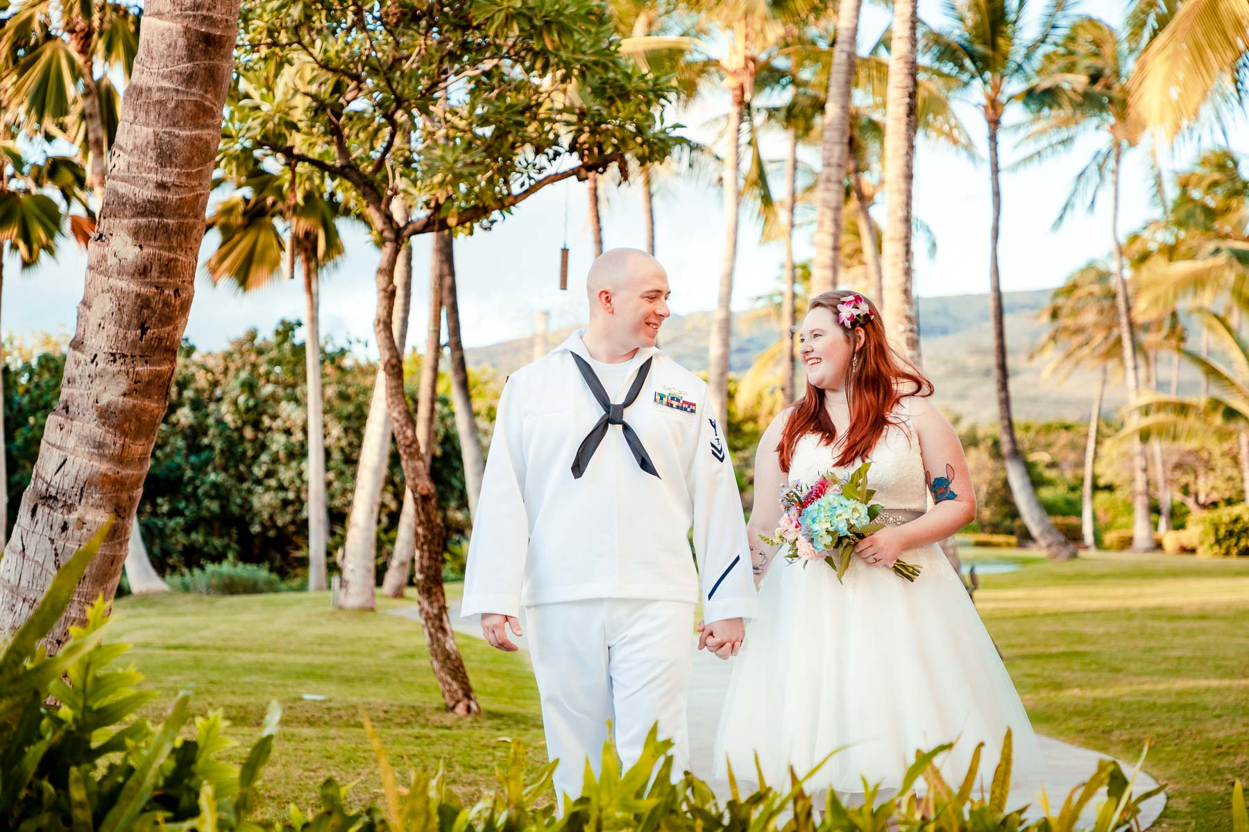 bride and groom wedding portrait garden oahu hawaii