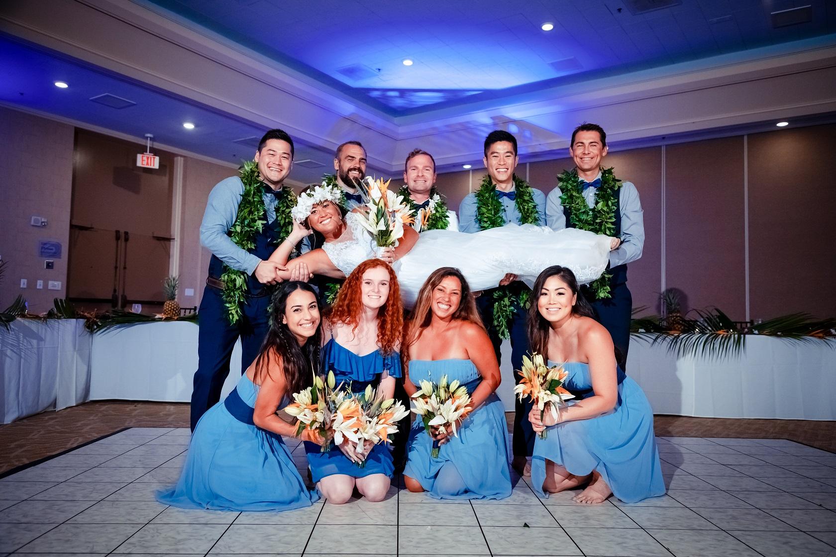 bridal party wedding reception portrait north shore oahu