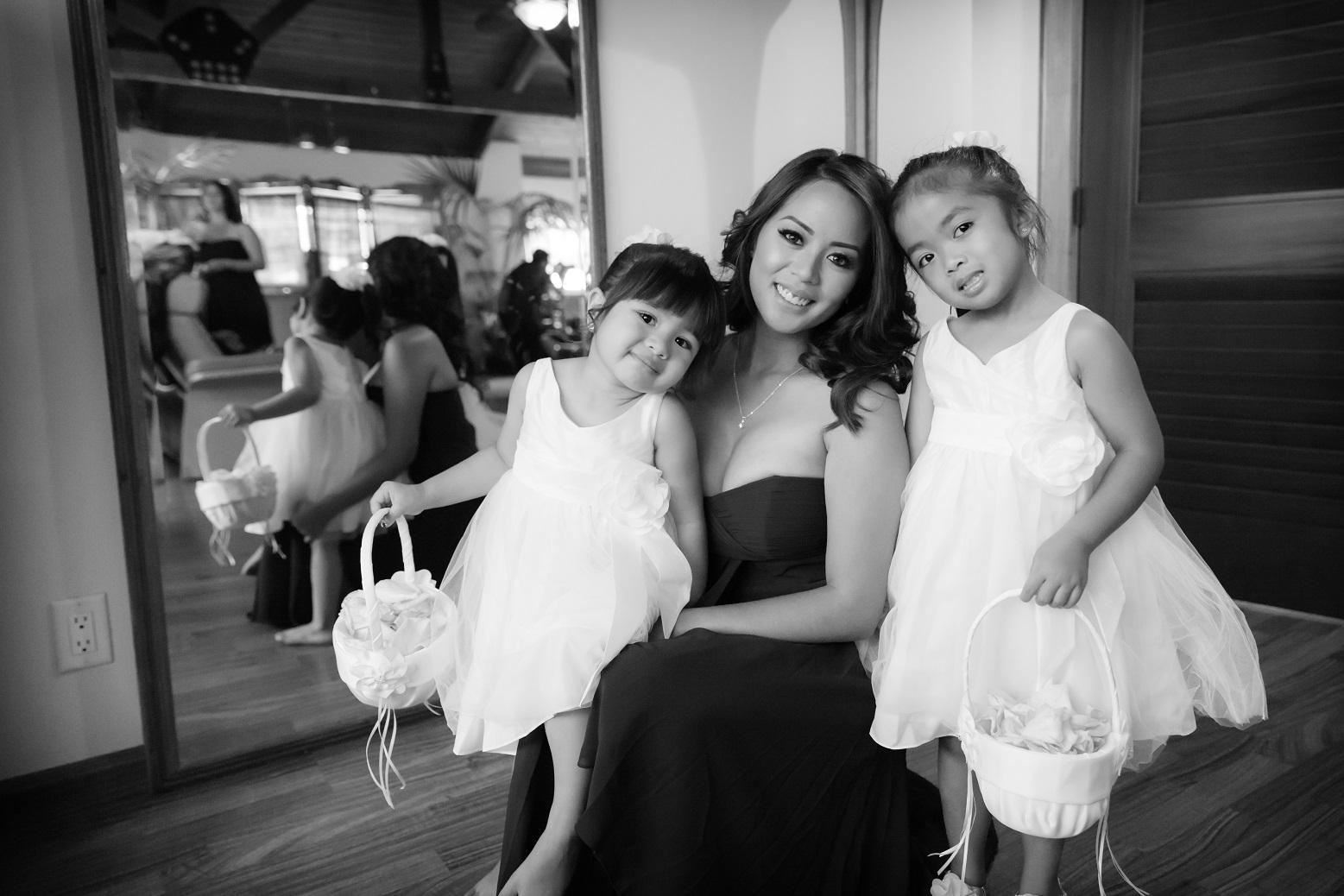 black and white flower girls oahu wedding