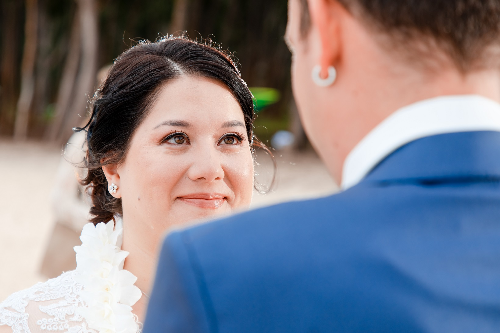 bride close up wedding elopement ceremony beach oahu