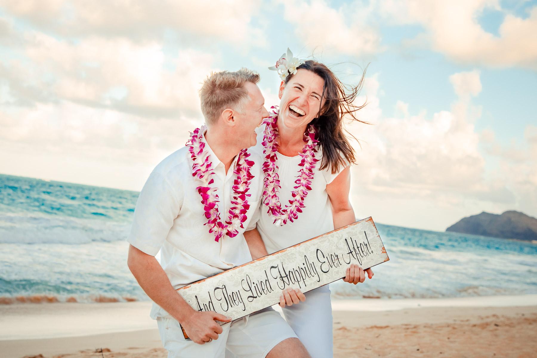 oahu wedding beach elopement bride groom portrait