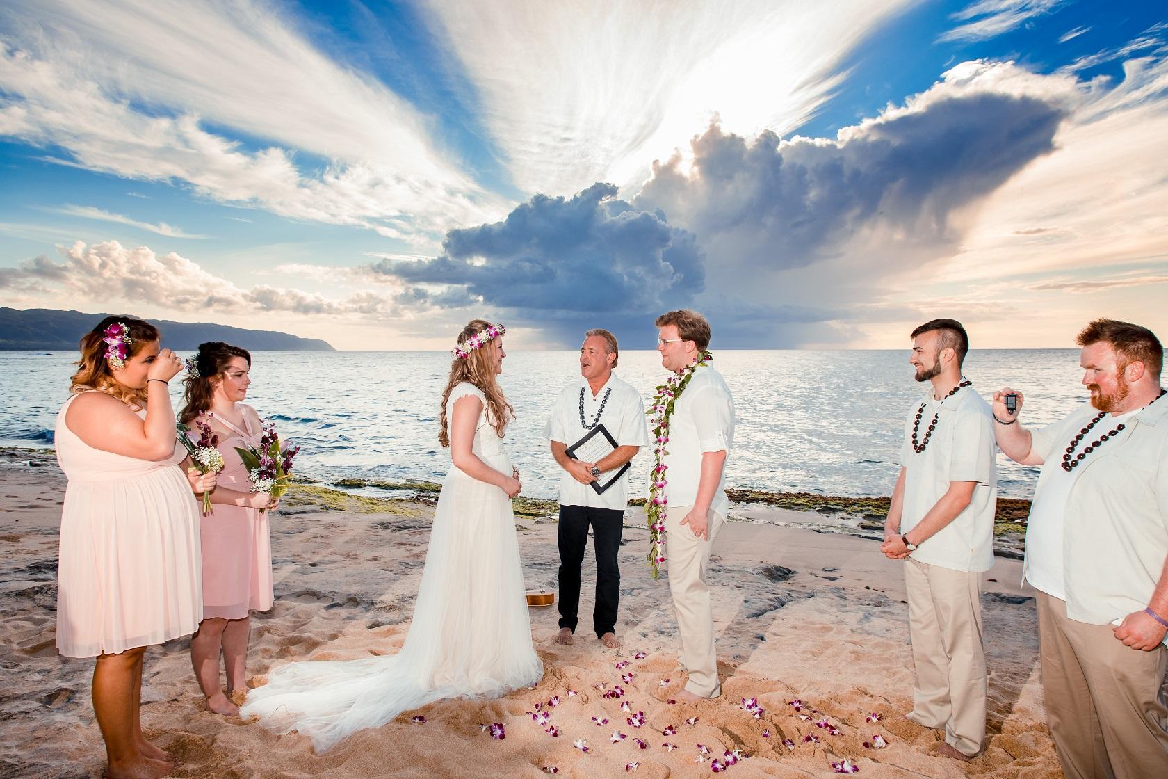 sunset wedding elopement ceremony oahu north shore beach