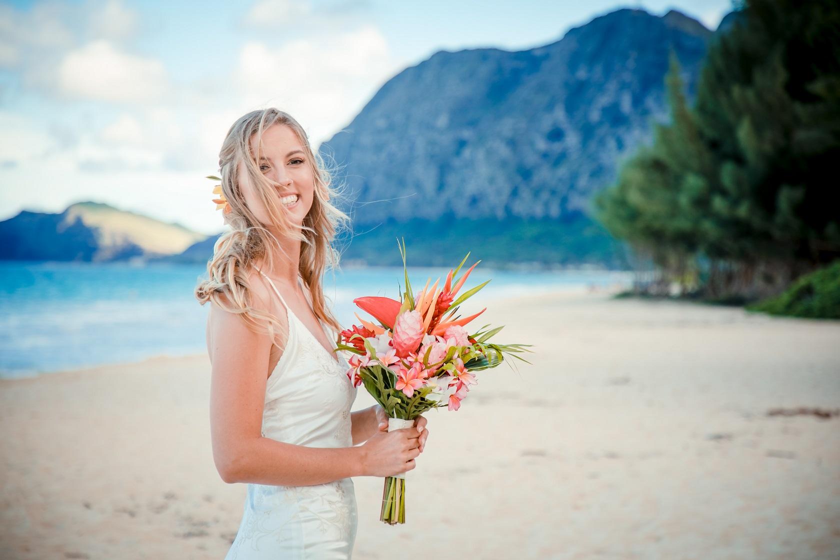 bride portrait waimanalo beach oahu sunset