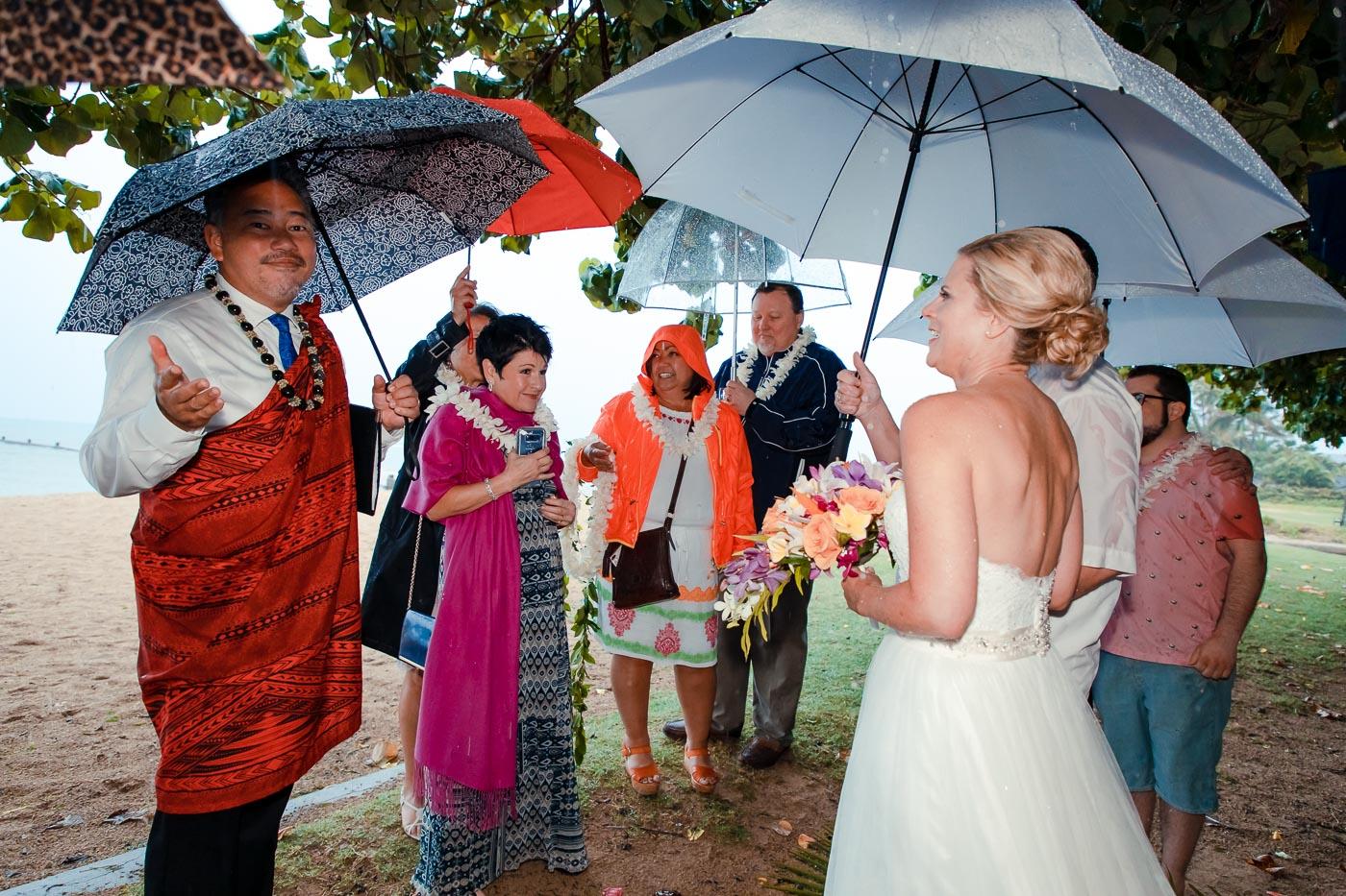 rainy beach wedding ceremony oahu hawaii