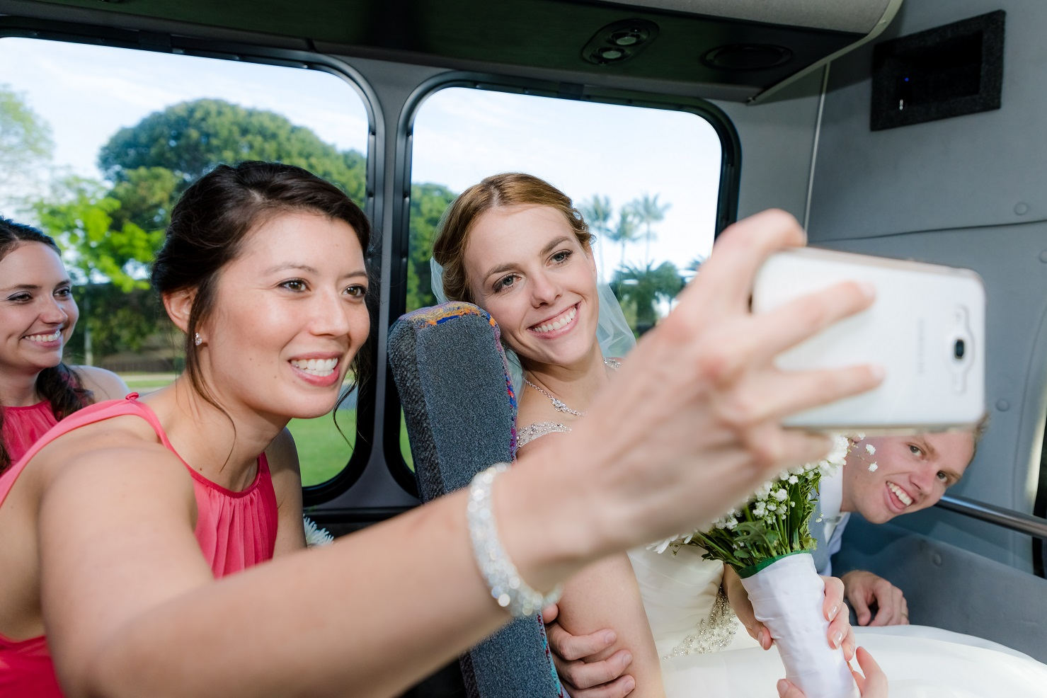 Bridal party bus ride, flashed