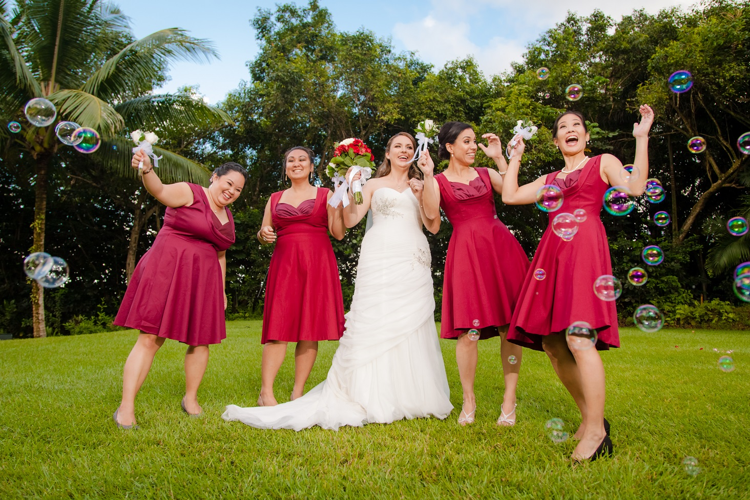 Bridesmaids goofing off, flashed lightly