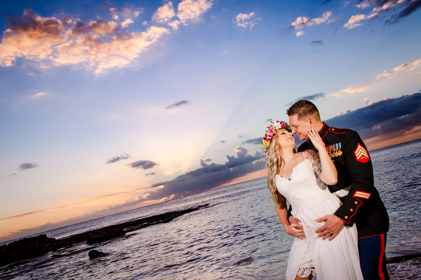 bride groom wedding portrait sunset beach oahu hawaii
