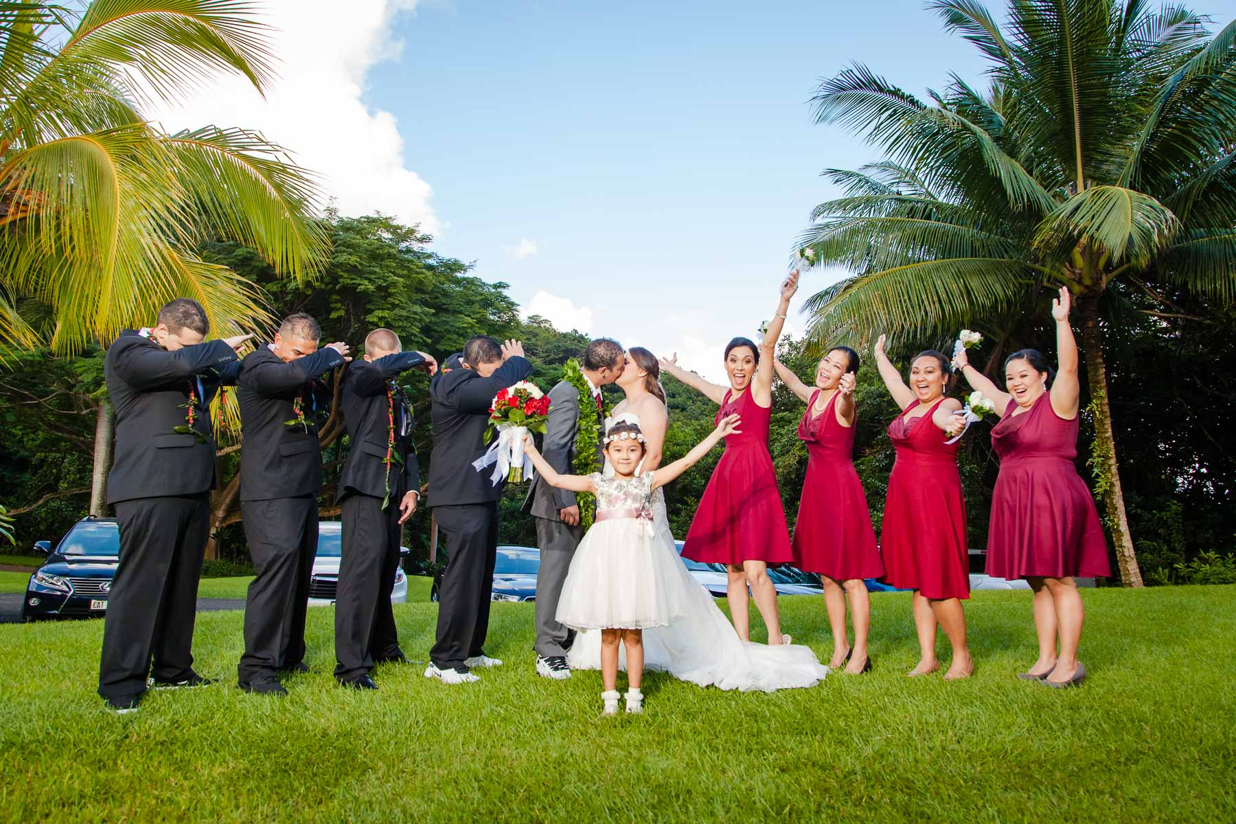 bridal party portrait oahu hawaii wedding reception
