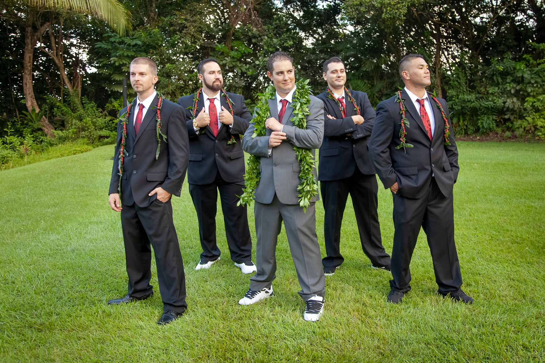 groomsmen portrait oahu wedding
