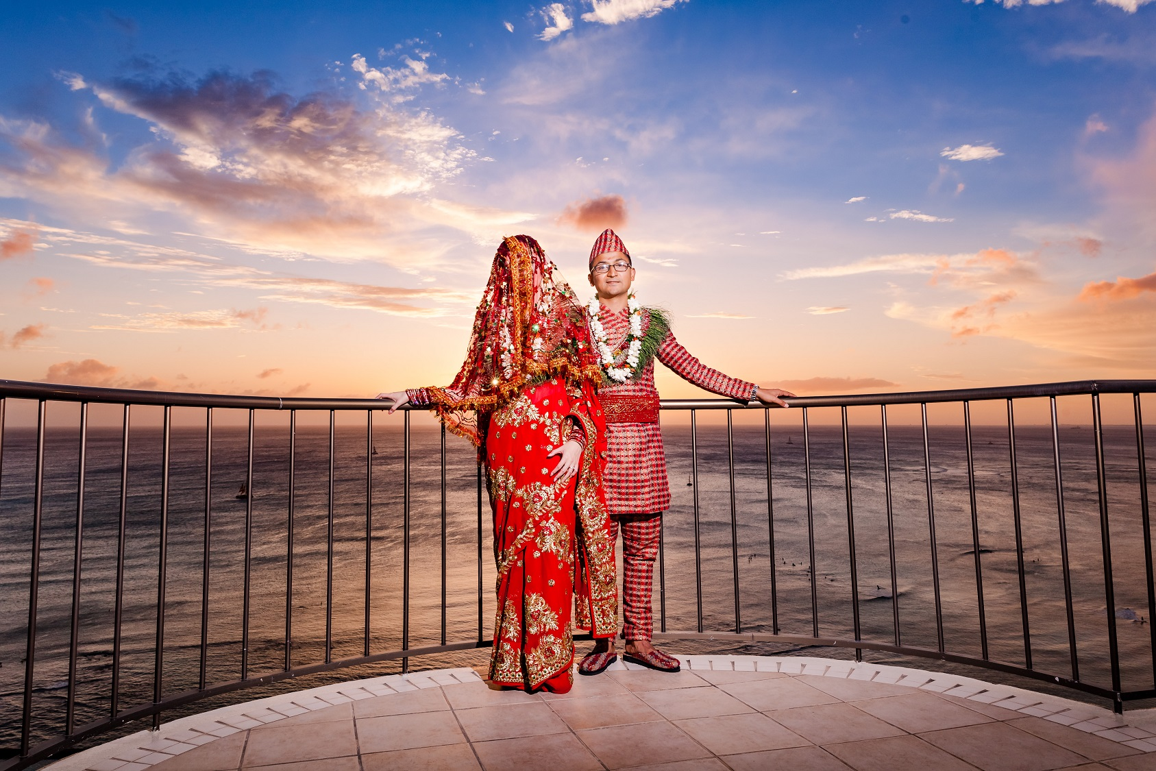 waikiki traditional indian wedding ceremony sunset