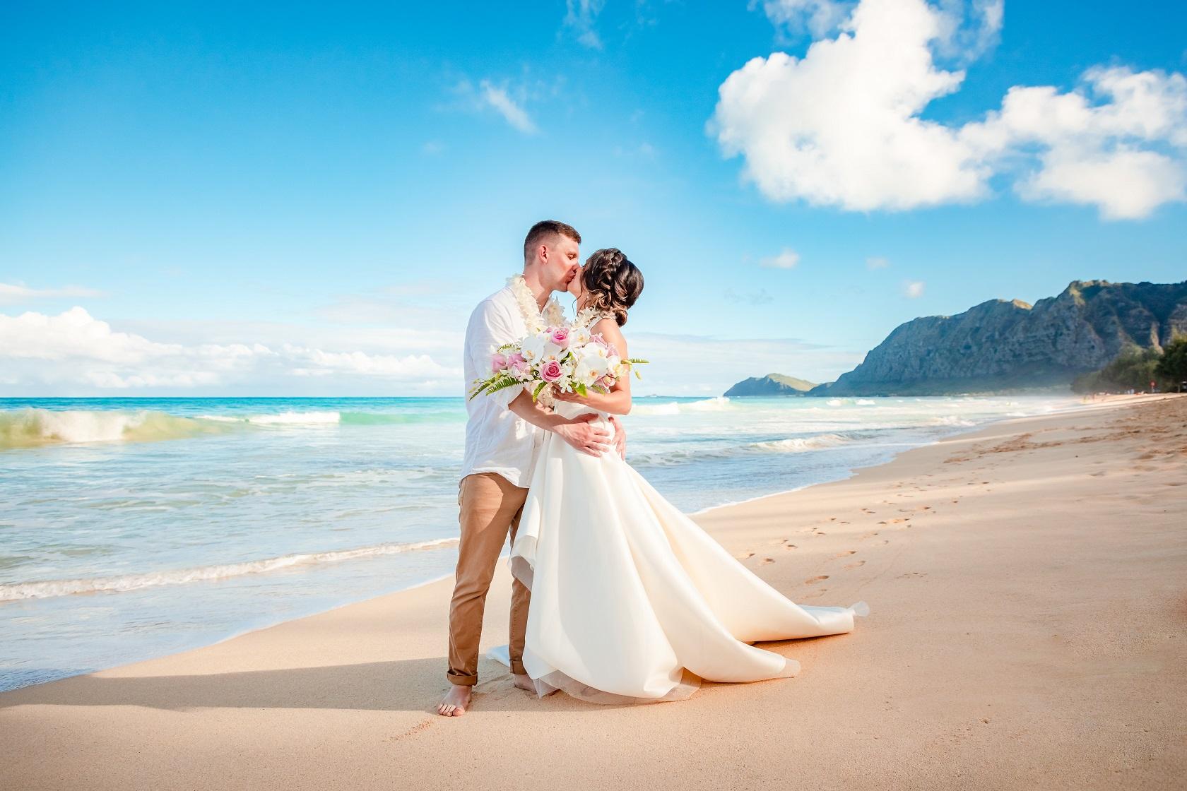 bride groom wedding portrait beach oahu waimanalo hawaii