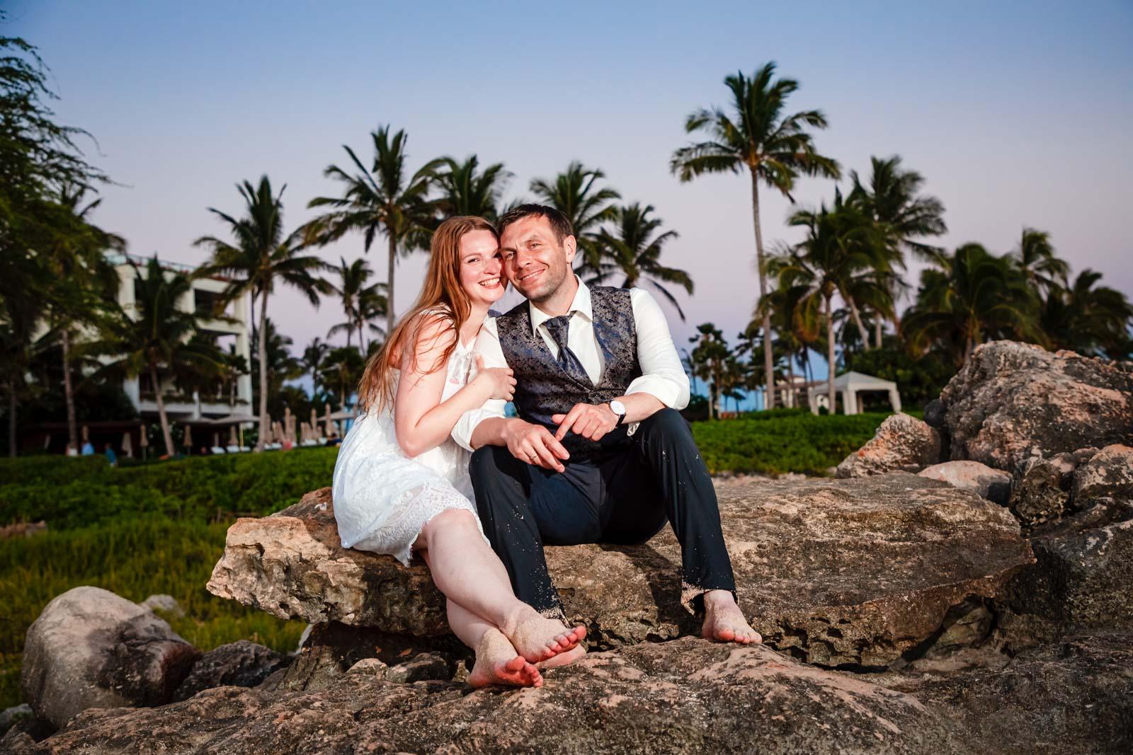 bride & groom portrait four seasons oahu resort sunset rocks