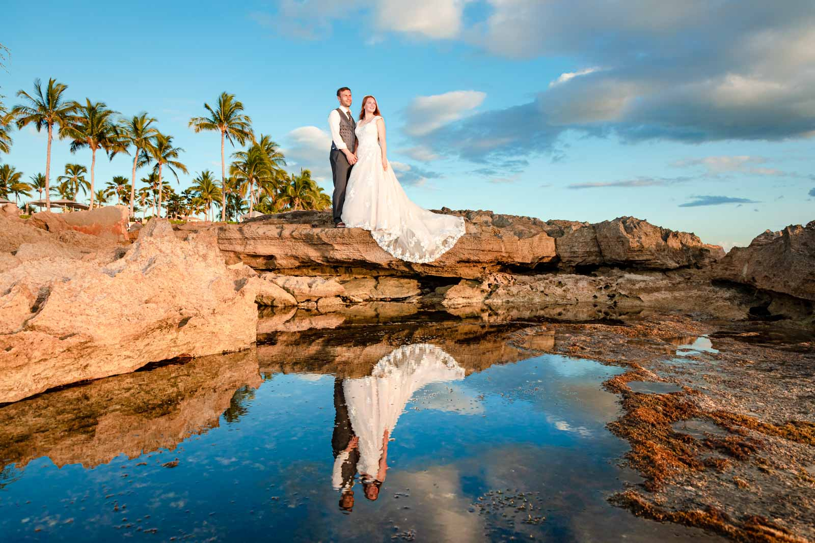 bride and groom portrait sunset tidepool beach oahu hawaii wedding
