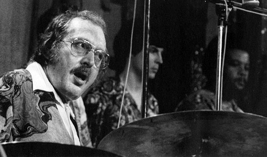 The magnificent Mel Lewis (the only American star at Ronnie's who let me use his kit for the other sets - a real gent).