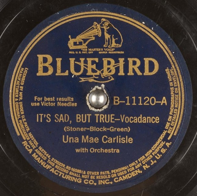 One of the 78s Una Mae Carlisle recorded with Lester's quintet
