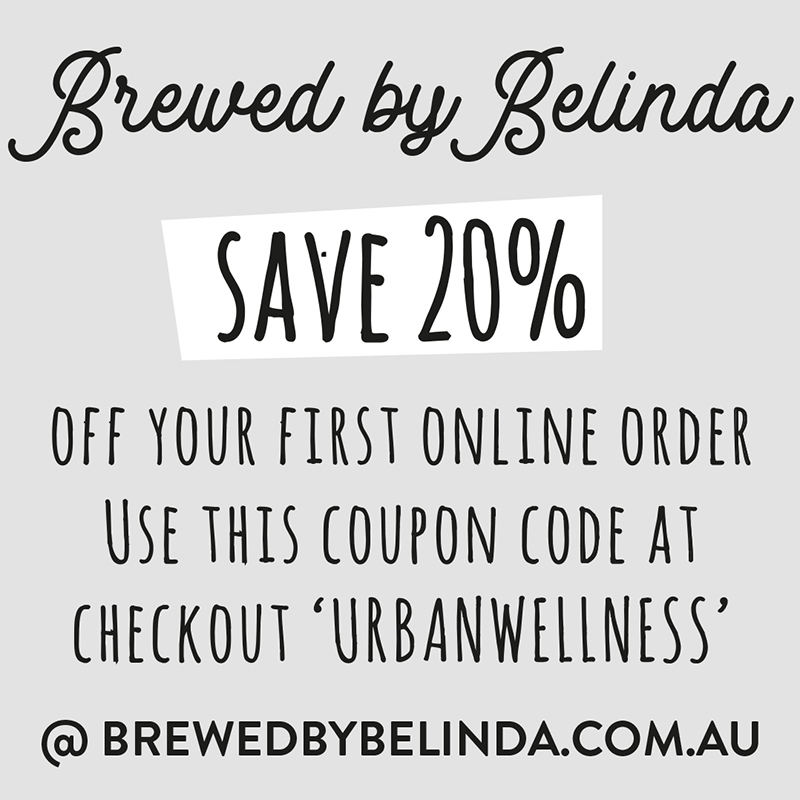 online discount T&Cs - this is a Single use voucher code for our fabulous organic tea partner 'brewed by belinda'. use the cart code urban wellness at checkout to apply THE 20% discount to your tea order TOTAL.
