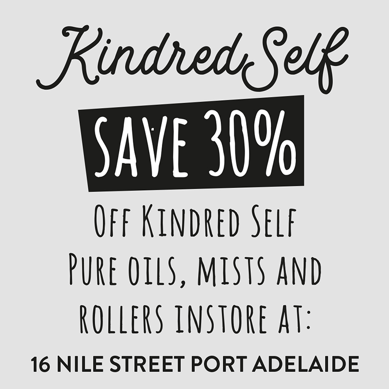 instore 30% discount T&cs - this is a Single use voucher, one per person & valid until the OFFER'S EXPIRY DATE SPECIFIED ON THE voucher CARD. Present the card instore at Time of purchase. discount applies to Kindred Self Pure Oils, Personal Space Mists and Pulse Point rollers only. (Excludes Ultrasonic diffusers and diffuser jewellery)