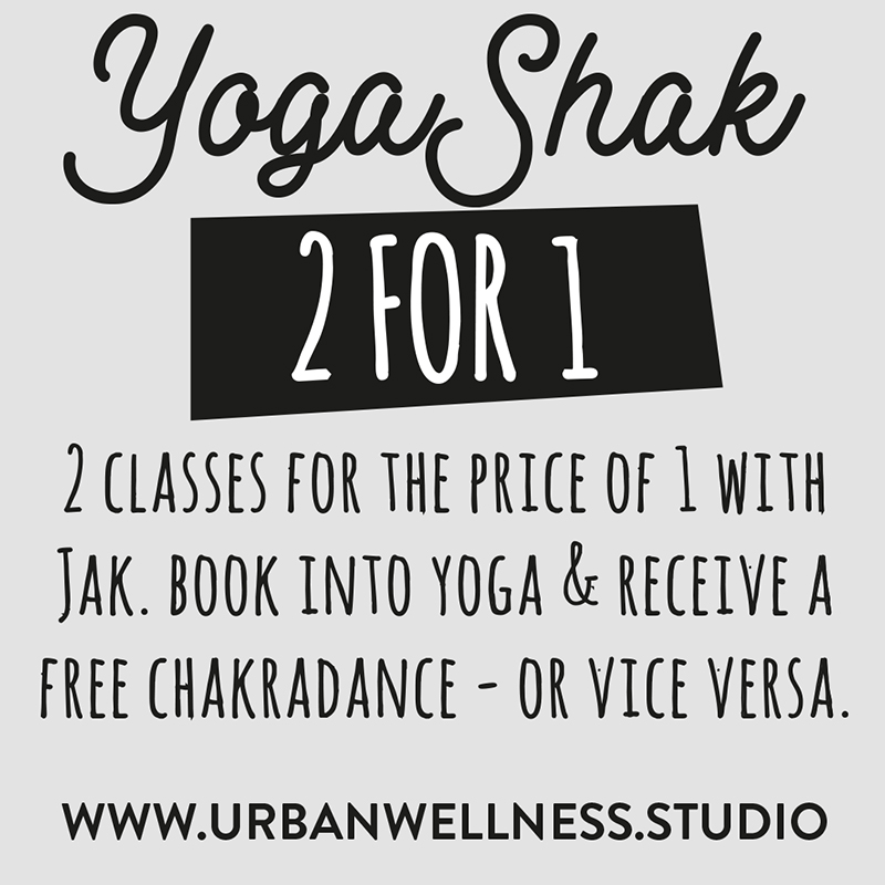 2for1 offer T&CS - this is a Single use voucher, one per person & valid until the OFFER'S EXPIRY DATE SPECIFIED ON THE voucher CARD. Present the card to Jak at time of chakradance or yoga class.