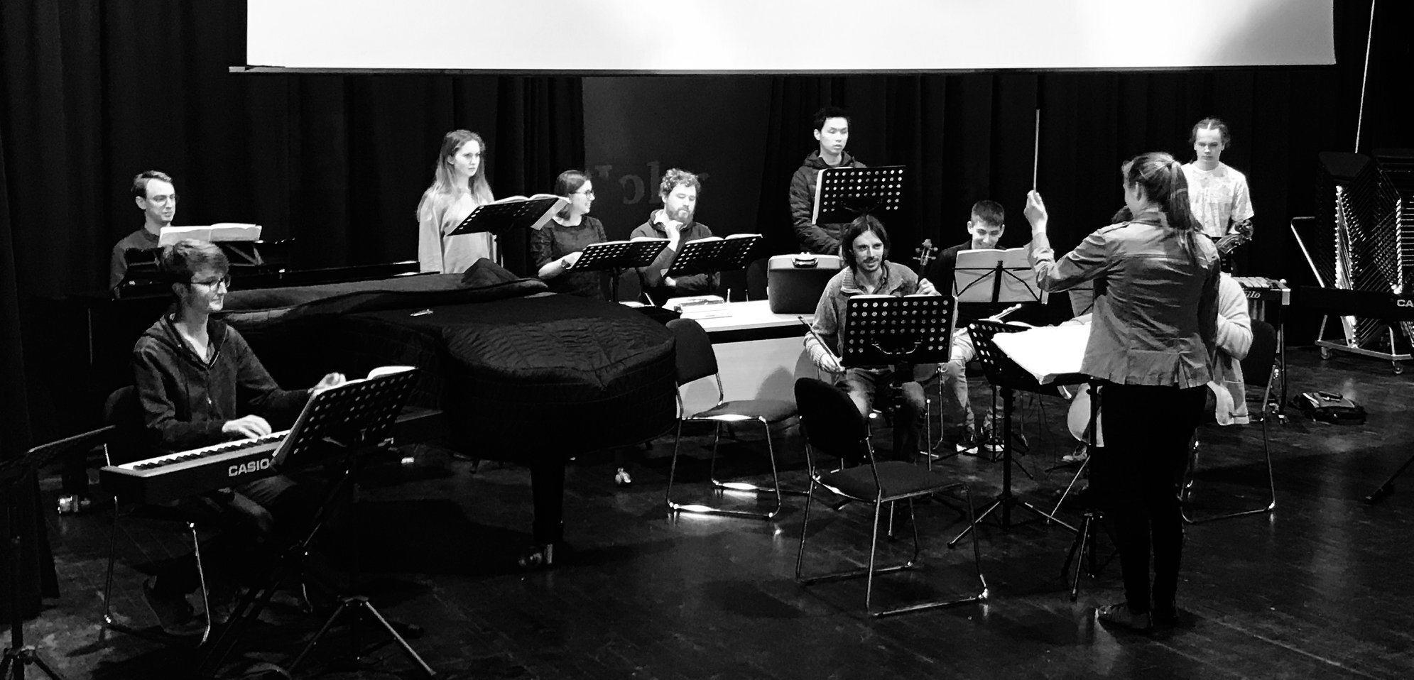 Rehearsing for Steve Reich and Beryl Korot's  The Cave  in the Auditorium at St John's College, Oxford
