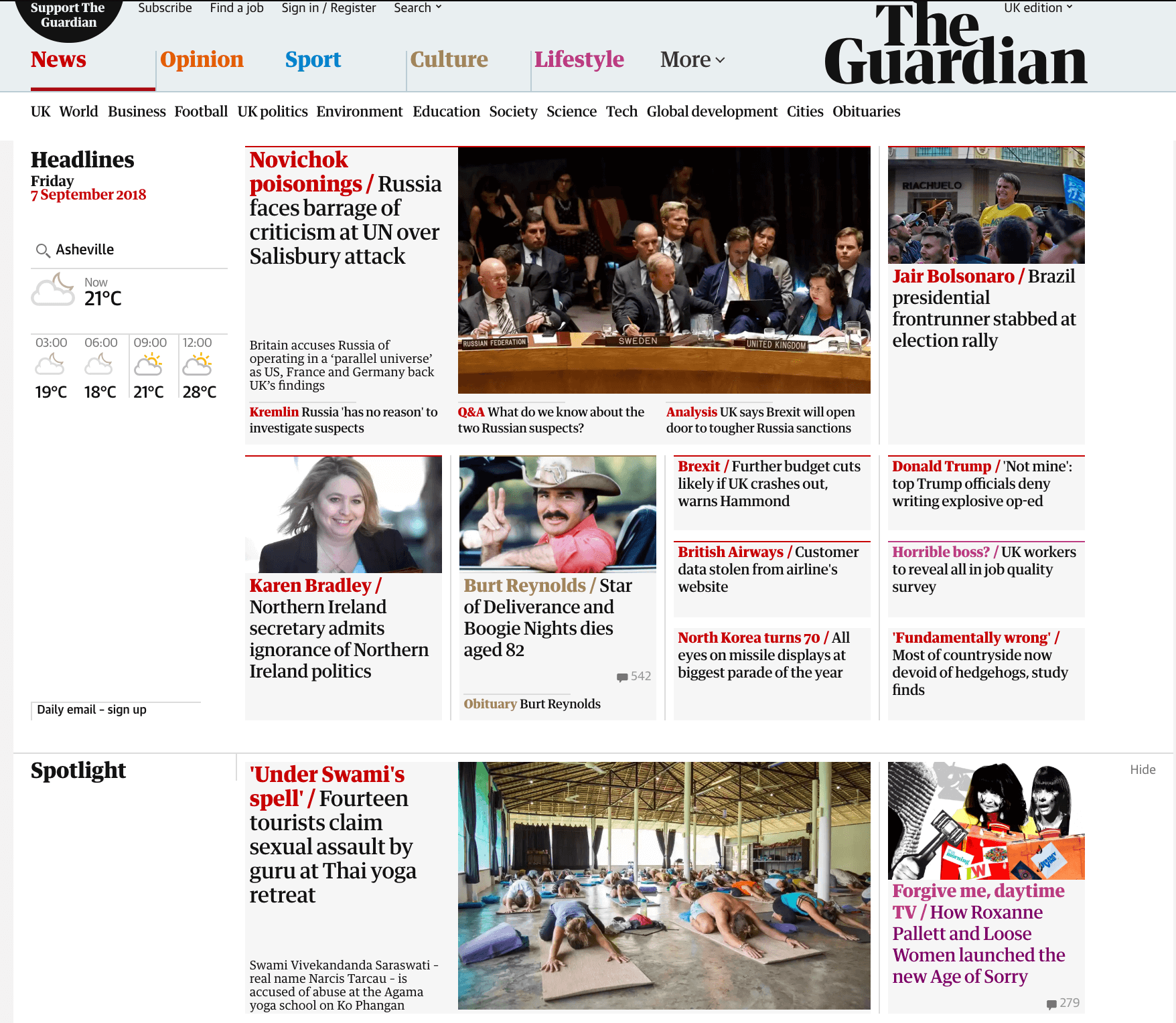 Front page coverage  of the Agama Yoga scandal on The Guardian.