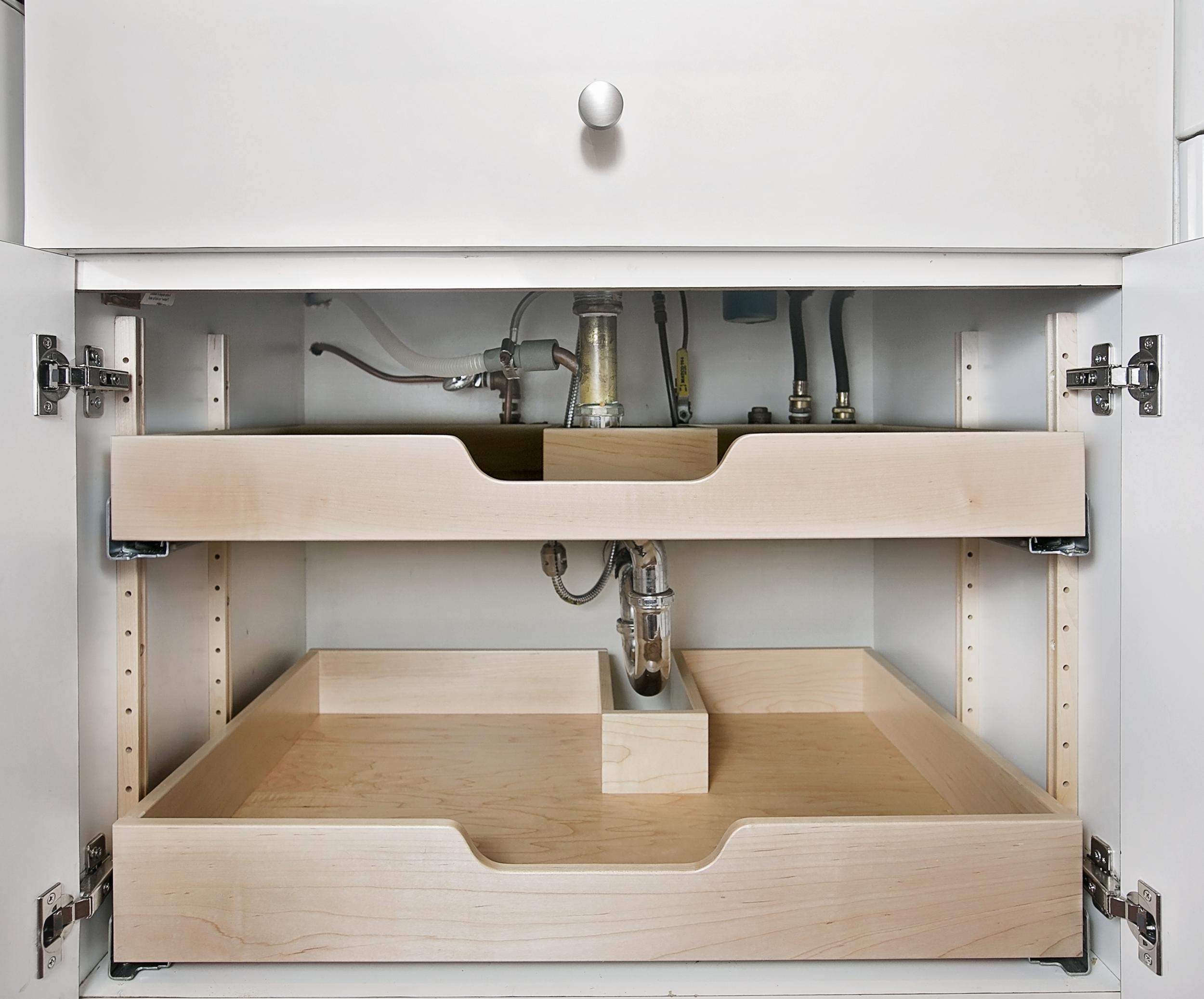 vanity sink drawers - Our custom drawers work around your plumbing.